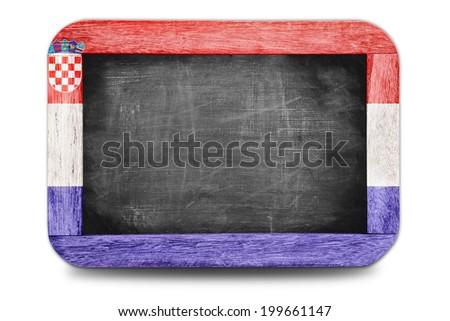 Croatia flag small chalkboard in football world 2014 - stock photo