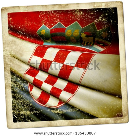 Croatia Grunge sticker - stock photo
