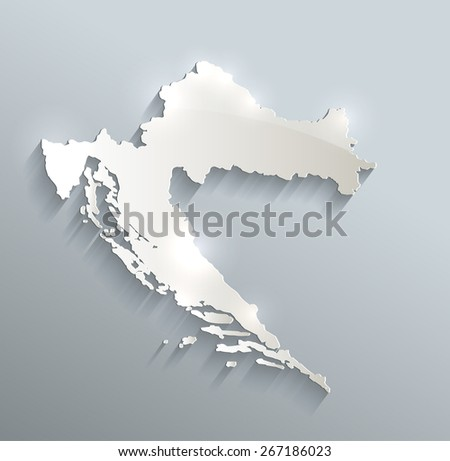 Croatia map blue white card paper 3D vector raster - stock photo