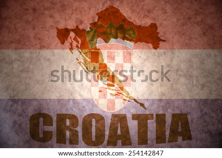 croatia map on a vintage  flag background - stock photo
