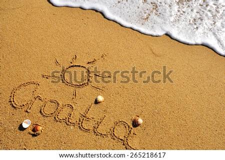 Croatia sign on the sand beach, summer background - stock photo