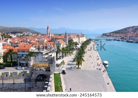 Croatia - skyline of Trogir in Dalmatia (UNESCO World Heritage Site). - stock photo