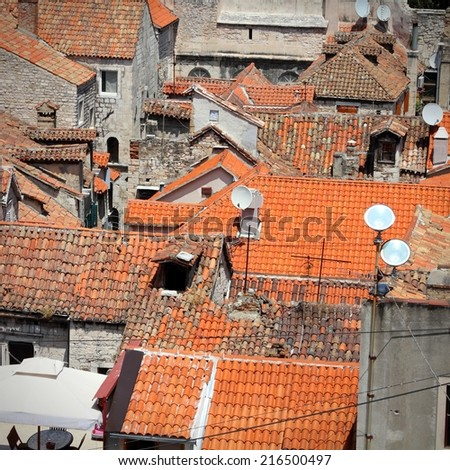 Croatia - Split in Dalmatia. Old town rooftops - famous UNESCO World Heritage Site. Square composition. - stock photo