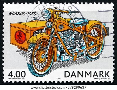 CROATIA ZAGREB, 7 FEBRUARY 2016: a stamp printed in Denmark shows 1953 Nimbus Motorcycle, Historic Postal Vehicles, circa 2002 - stock photo