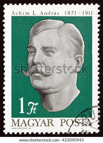 CROATIA ZAGREB, 21 FEBRUARY 2016: a stamp printed in Hungary shows Andras L. Achim, Peasant Leader, circa 1971 - stock photo