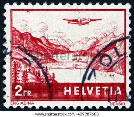 CROATIA ZAGREB, 21 FEBRUARY 2016: a stamp printed in the Switzerland shows The Engadine, Valley in Graubunden, circa 1941 - stock photo