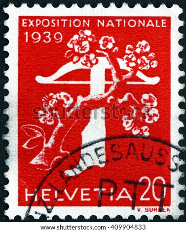 CROATIA ZAGREB, 21 FEBRUARY 2016: a stamp printed in the Switzerland shows Tree and Crossbow, National Exposition of 1939, circa 1939 - stock photo