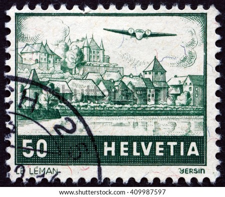 CROATIA ZAGREB, 21 FEBRUARY 2016: a stamp printed in the Switzerland shows View of Lake Geneva, circa 1941 - stock photo