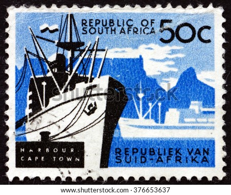 CROATIA ZAGREB, 30 JANUARY 2016: a stamp printed in South Africa shows Cape Town, Harbor, circa 1961 - stock photo