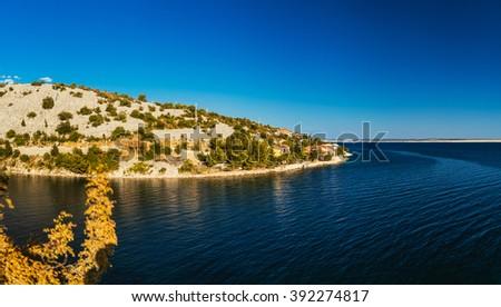 Croatian coast on the Adriatic Sea in summer. - stock photo