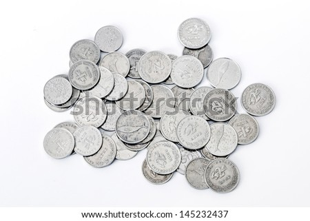 Croatian metal coins banknote. Mostly coins worth two Kunas. - stock photo