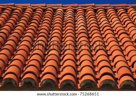 Croatian style, famous tiled roof - stock photo