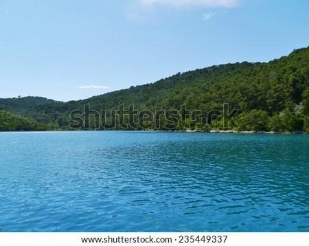 Croatian village Polace at the island Mljet in the Adriatic sea of Croatia - stock photo