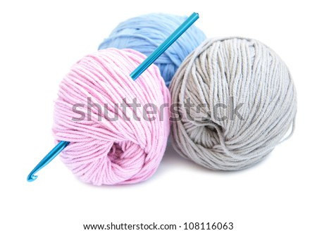 Crochet hook and yarn on a white background - stock photo