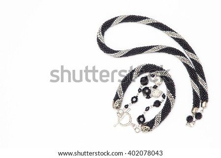 Crochet necklace and bracelet - stock photo