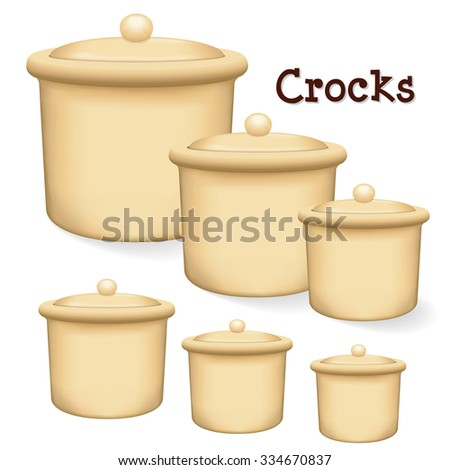 Crocks with lids, collection of 6 earthenware storage jars with lids in small, medium and large sizes, isolated on a white background.  - stock photo