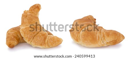 Croissant bread isolated on white background. Croissants and other viennoiserie are made of a layered yeast-leavened dough. - stock photo