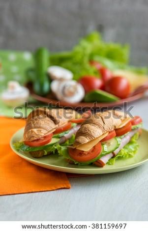 croissant ham cheese - stock photo