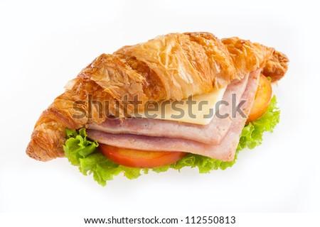 croissant ham cheese on white background - stock photo