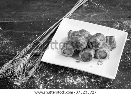 croissant Hot dog roll / Black and white style - stock photo
