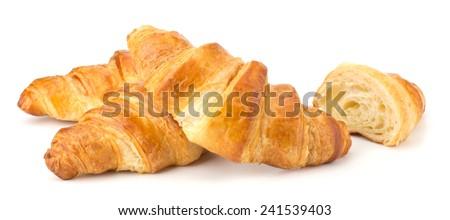 Croissant isolated on white background - stock photo