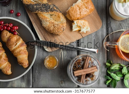 croissant with jam - stock photo