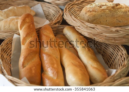 Croissants and delicious sweet snack in the morning as well.  - stock photo