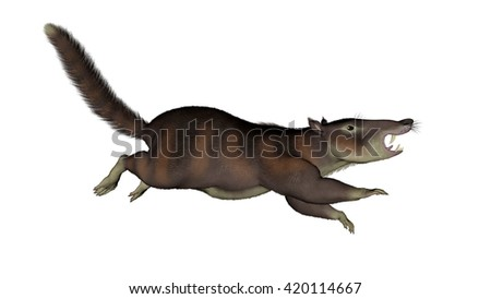 Cronopio dentiacutus, prehistoric mammal - 3D render - stock photo