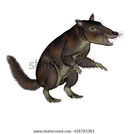 Cronopio dentiacutus prehistoric mammal sitting isolated in white background - 3D render - stock photo