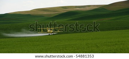 Crop dusting airplane applying Pesticide to the wheat fields of the Palouse - stock photo