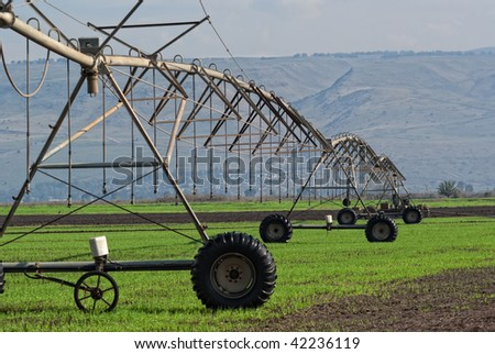 Crop irrigation system,  Golan Heights, Israel - stock photo