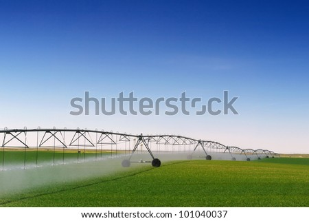 Crop Irrigation using the center pivot sprinkler system - stock photo