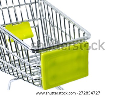 cropped and blur in front,shopping trolley, isolated on white background - stock photo