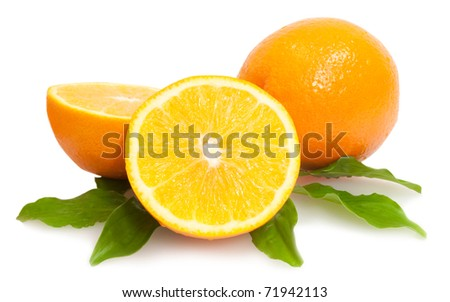 cropped and whole oranges with green leaves isolated on white background - stock photo