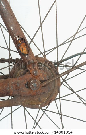cropped, close up of an antique bicycle rear hub. - stock photo