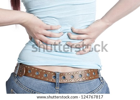 Cropped image of a woman with lower back pain isolated on a white background - stock photo