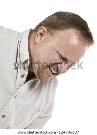 Cropped image of an old man suffering great pain isolated in a white background - stock photo
