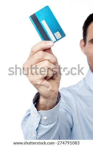 Cropped image of businessman showing credit card - stock photo