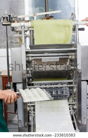 Cropped image of female chef holding ravioli pasta tray by machine at commercial kitchen - stock photo