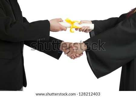 Cropped image of graduating student accepting a diploma against white background - stock photo