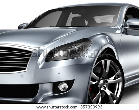 Cropped Image Of silver Car on white - stock photo