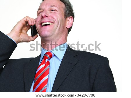 cropped portrait of businessman on phone - stock photo