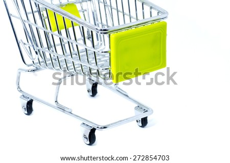 cropped shopping trolley, isolated on white background - stock photo