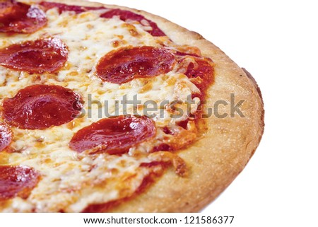 Cropped shot of a delicious pizza isolated on white surface. - stock photo
