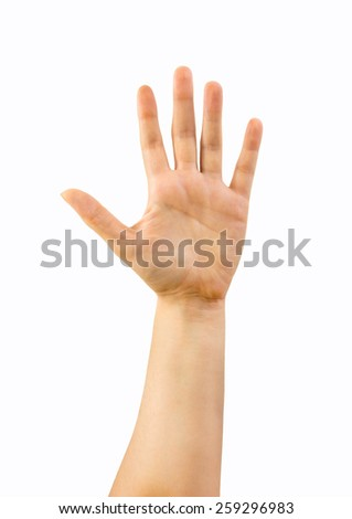 Cropped shot of hands with with open palm - stock photo