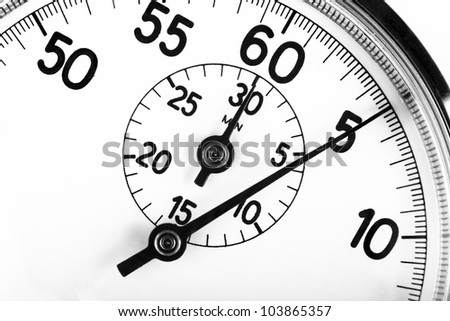 cropped stopwatch closeup pointing at 5 seconds - stock photo