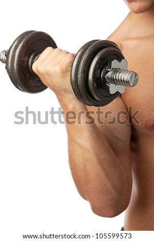 Cropped view of a muscular man lifting weights over white - stock photo