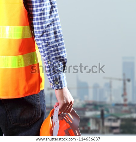 Cropped view of Construction worker - stock photo
