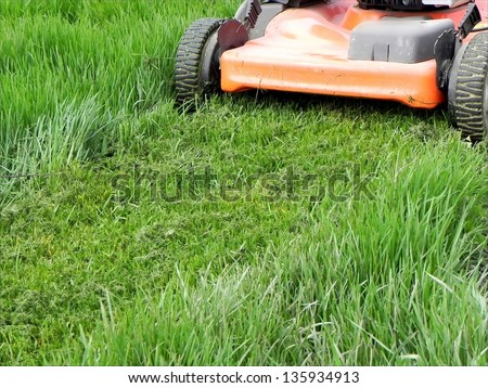 Cropper in action on the spring grass/Grass Mowing - stock photo