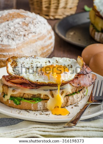 Croque madame delicious french breakfast with ham, cheese, egg and spinach with garlic - stock photo